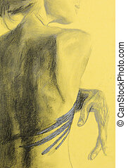 young beautiful naked woman back, sketch
