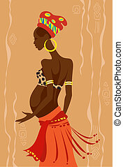 Young beautiful pregnant african woman - Vector illustration...