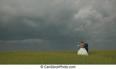 Young beautiful sensual couple walking along a scenic field on their wedding day