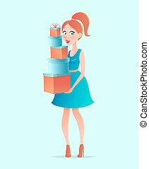 Young beautiful shopping woman in cartoon style. Girl with Christmas gift boxes. Vector illustration.