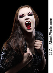 Young beautiful vampire woman