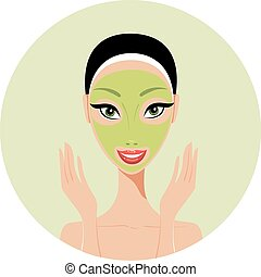 Young beautiful woman applying face mask Spa Skin care concept