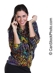 young beautiful woman calling by phone