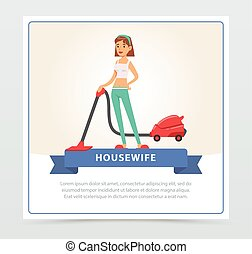 Young beautiful woman cleaning the floor with vacuum cleaner, housewife banner flat vector element for website or mobile app