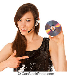 Young beautiful woman DJ with cd in her hand