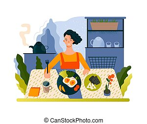 Young beautiful woman eating delicious food. Routine creative concept.