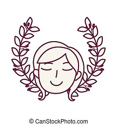 young beautiful woman head with wreath crown