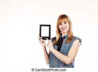 young beautiful woman holding a tablet