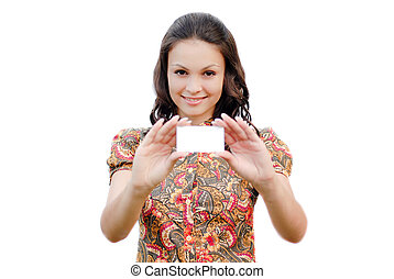 Young beautiful woman holding business card