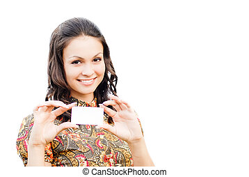 Young beautiful woman holding business card with copy space isolated over white background