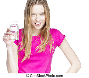 young beautiful woman holding glass of water