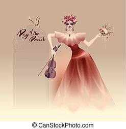 Young beautiful woman holding skull and violin