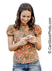 Young beautiful woman holding touch phone