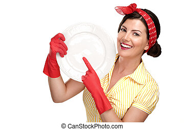 young beautiful woman housewife showing perfect washed dishes