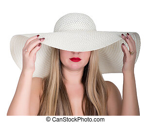 young beautiful woman in a large white hat, isolated on white background
