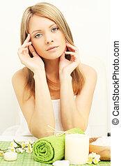 Young beautiful woman in beauty salon