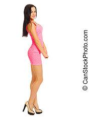Young beautiful woman in dress