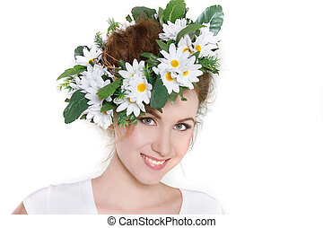 young beautiful woman in floral wreath over white