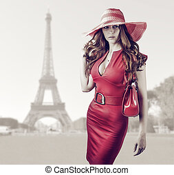 Young beautiful woman in Paris, France
