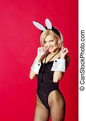 young beautiful woman in rabbit costume