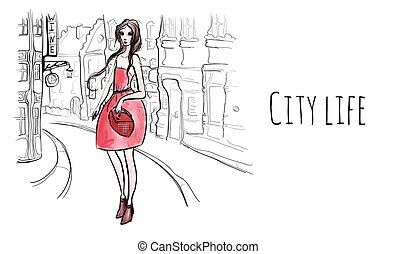 Young beautiful woman in red dress on the streets of the old...