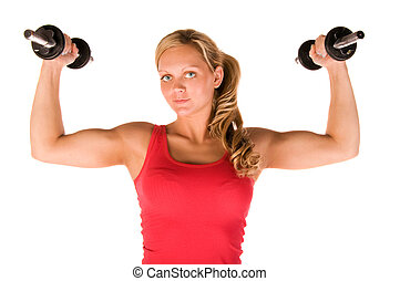 Young beautiful woman in the gym