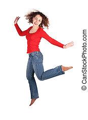 young beautiful  woman jumps