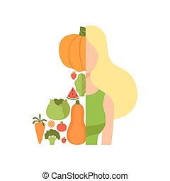 Young beautiful woman made with fresh fruits and vegetables, healthy eating, diet, organic vegan food vector Illustration