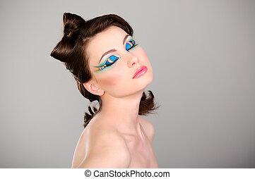 young beautiful woman makeup