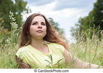 woman on a meadow