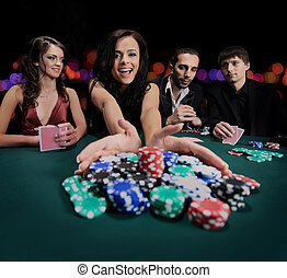 young beautiful woman playing in casino