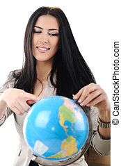 Young beautiful woman pointing on Globe