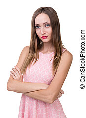Young beautiful woman portrait, isolated over white.