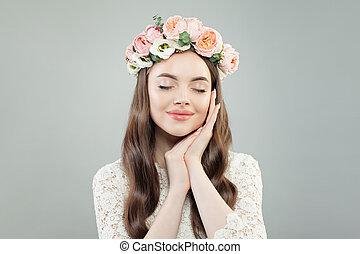 Young Beautiful Woman Portrait. Pretty  Model Girl Wearing Flowers Wreath