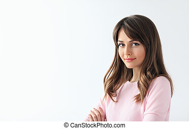 Young beautiful woman portrait with copy space