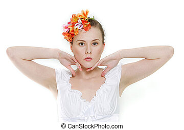 young beautiful woman posing over white