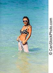 Woman Posing through the water