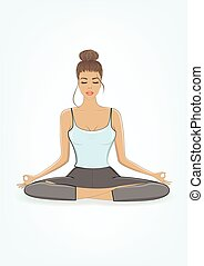 young beautiful woman practicing yoga in lotus pose, vertical vector illustration