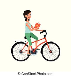 Young beautiful woman riding bicycle with book in her hand, active lifestyle concept vector Illustrations on a white background