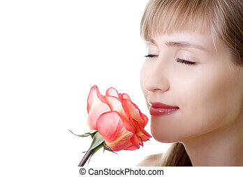young beautiful woman rose inhale isolated