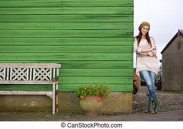 Young Beautiful Woman Smiling Outdoors