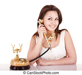 Young beautiful woman talking by phone.