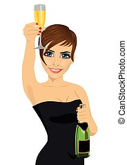 young beautiful woman toasting with lingerie and bottle of champagne