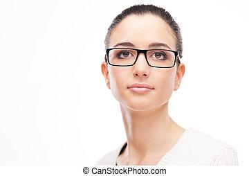 Young beautiful woman wearing glasses