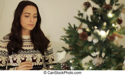 Young beautiful woman wearing warm sweater , putting toys on a Christmas tree.