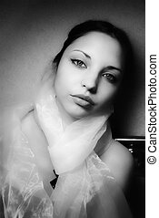 young beautiful woman with a scarf