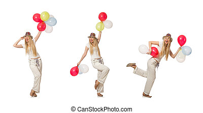 Young beautiful woman with balloons in hand