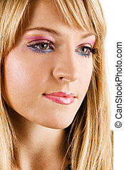 Young beautiful woman with bright makeup