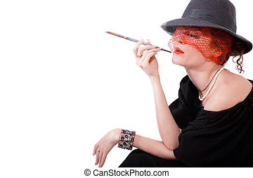 woman with cigarette in mouthpiece in hat with veil