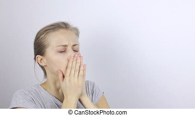 Sick woman suffering from cough